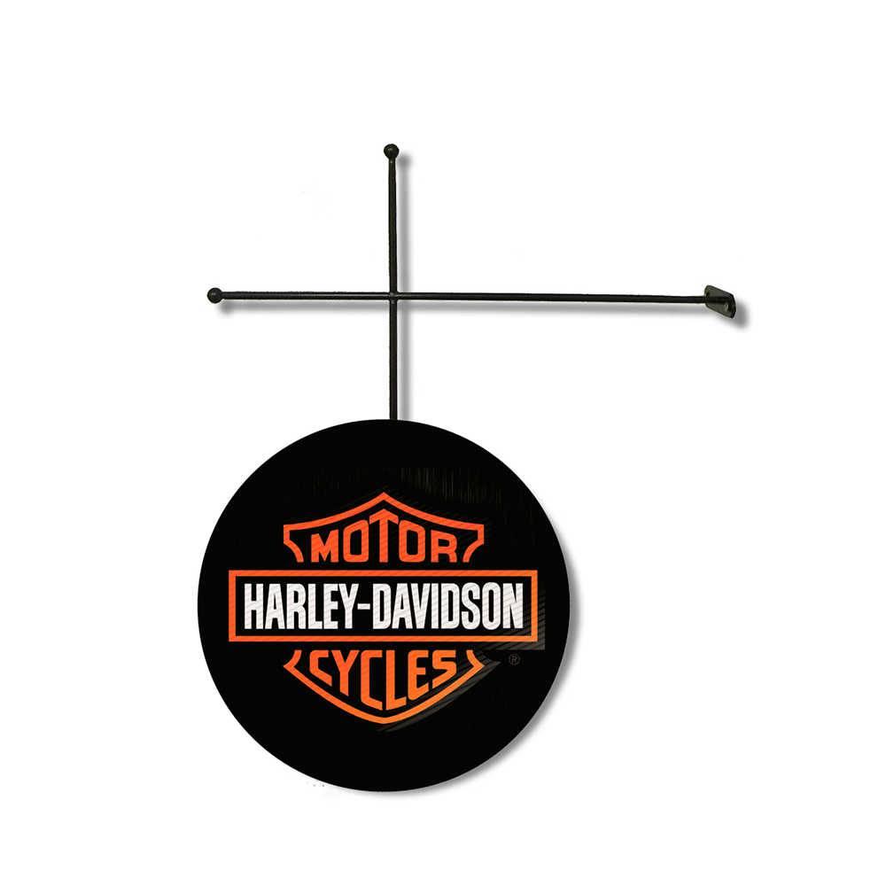 Placa Decorativa Harley Davidson em Poliestireno com Suporte em Metal - 30x30 cm