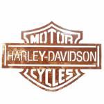 Placa Decorativa Harley Davidson Vazada Marrom em Metal