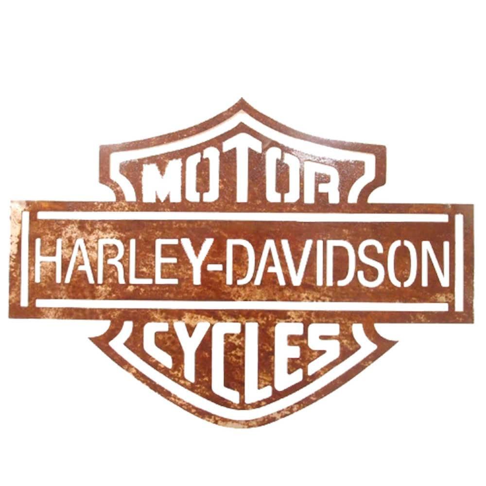 Placa Decorativa Harley Davidson Vazada Marrom em Metal - 60x42 cm