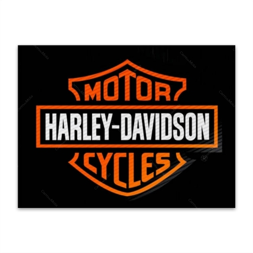 Placa Decorativa Harley Laranja Grande em Metal - 40x30 cm