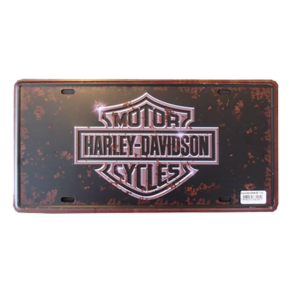 Placa Decorativa Harley-Davidson em Alumínio Preto Pátina - com Relevo - 30x15 cm