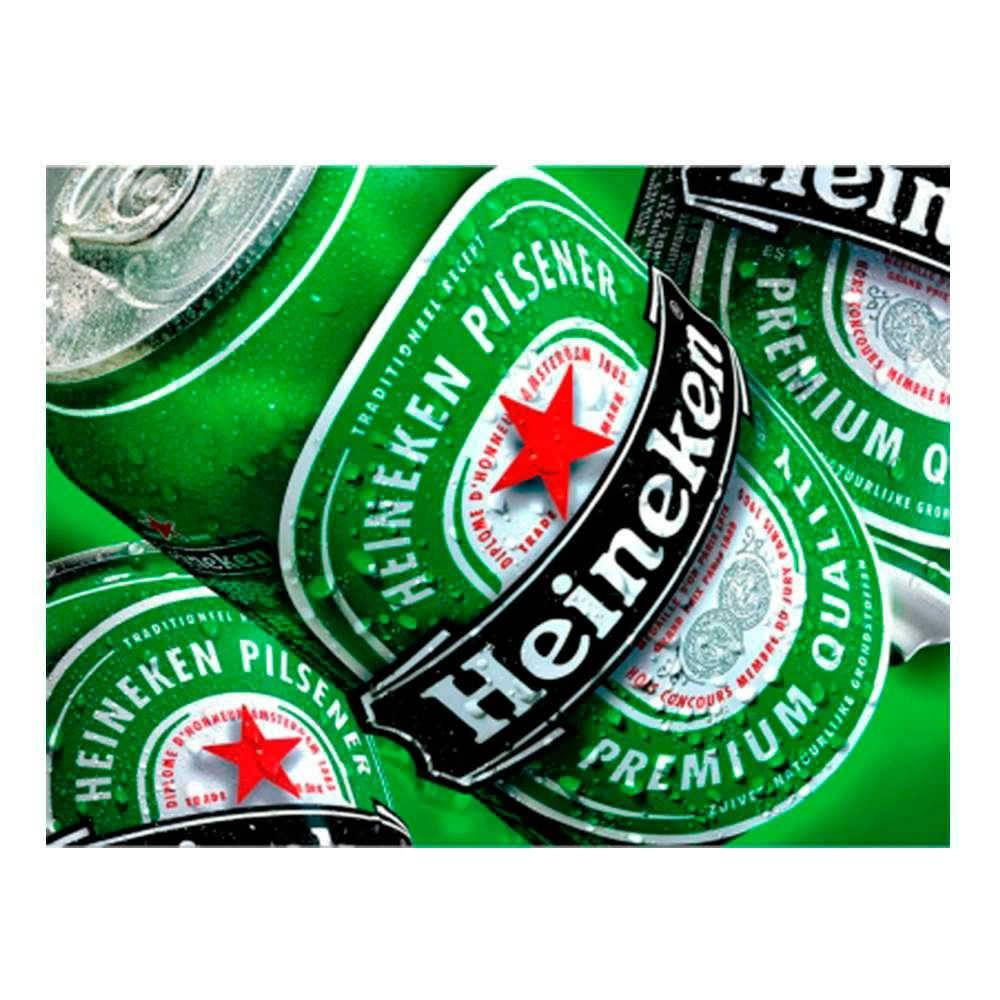 Placa Decorativa Heineken Lata com Impressão Digital em Metal - 30x20 cm