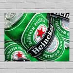 Placa Decorativa Heineken Lata com Impressão Digital em Metal - 40x30 cm