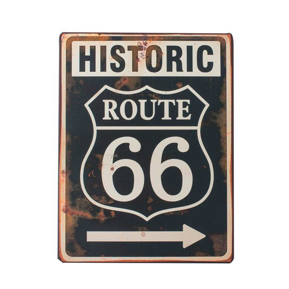 Placa Decorativa Historic Route 66 Preto e Branco em Metal - 35x26 cm