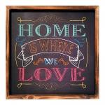 Placa Decorativa Home Is Where We Love em MDF - 40x40 cm