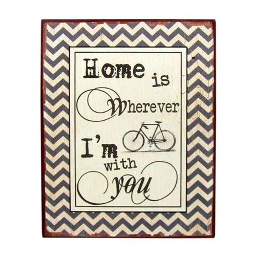 Placa Decorativa Home Is Wherever I´m With You em Metal - 35x26 cm