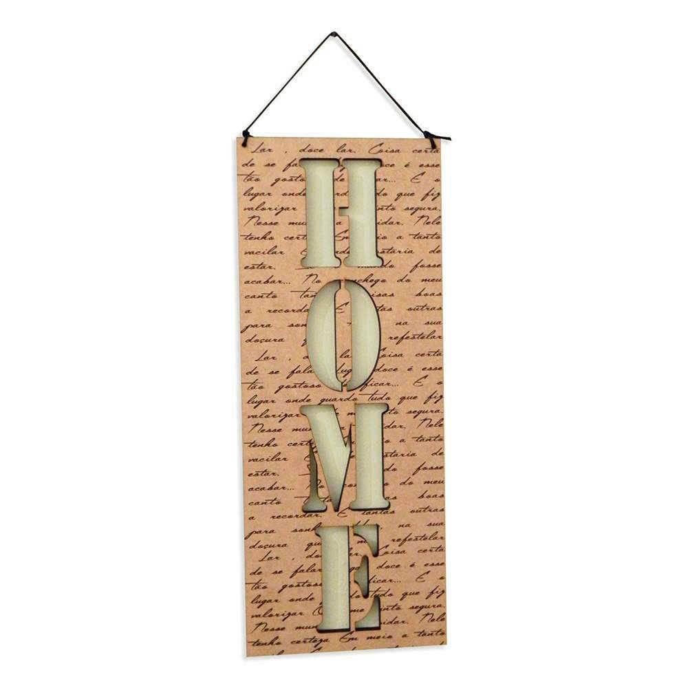 Placa Decorativa Home em MDF Vazado - 40x14 cm