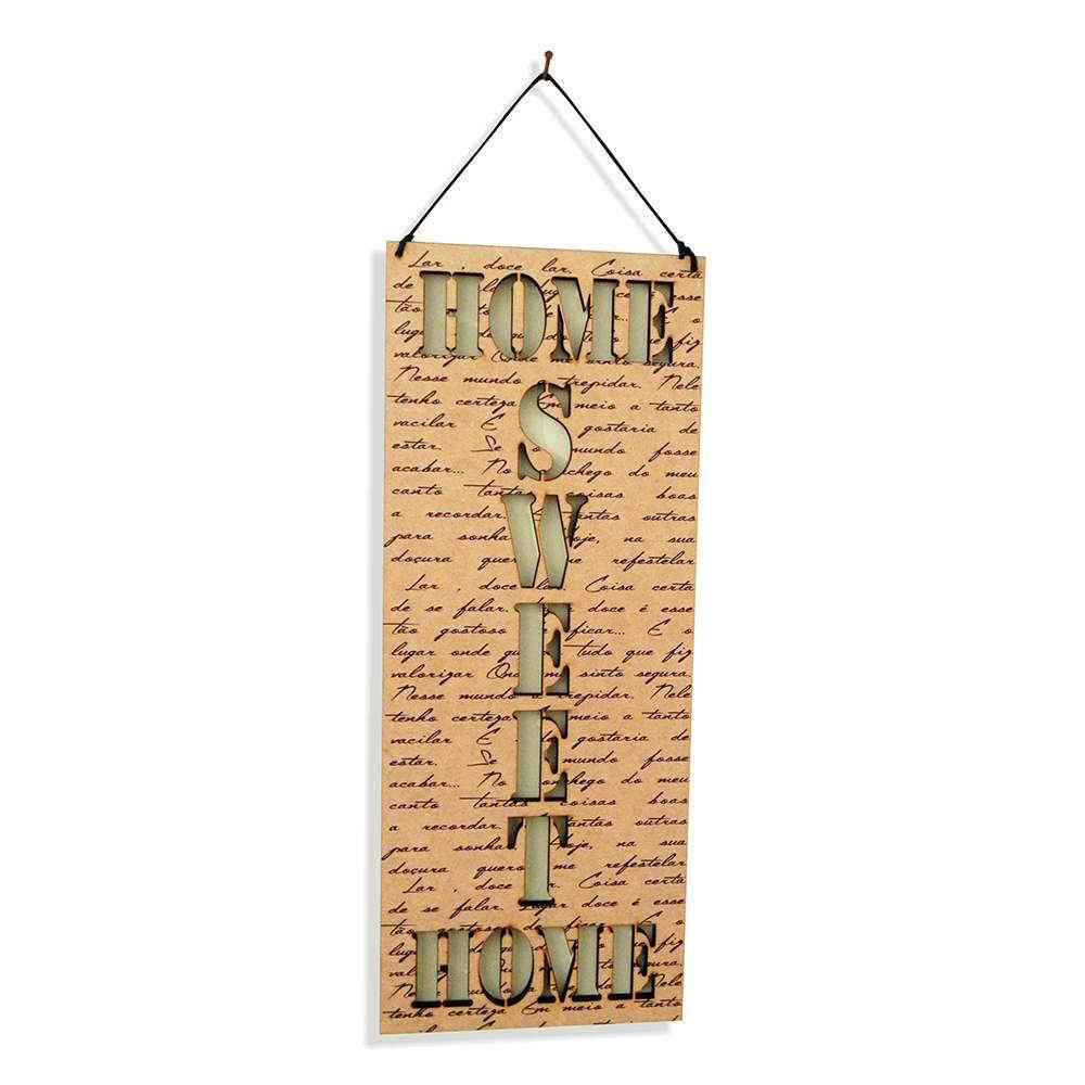 Placa Decorativa Home Sweet Home em MDF Vazado - 40x14 cm