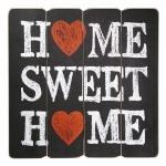Placa Decorativa Home Sweet Home Preto e Branco em MDF