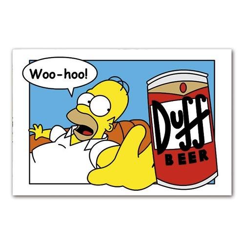Placa Decorativa Homer Simpson Cerveja Duff Grande em Metal - 40x30cm