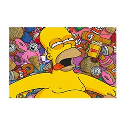 Placa Decorativa Homer Simpson Grande em Metal
