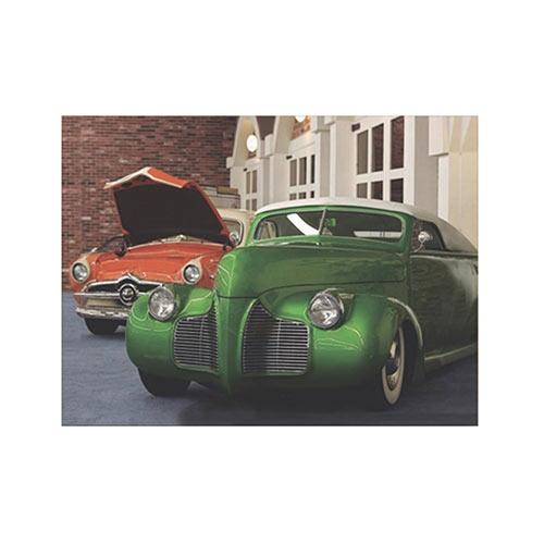 Placa Decorativa Hot Verde e Laranja Grande em Metal - 40x30cm