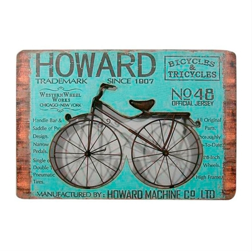 Placa Decorativa Howard Bike em Metal - 60,8x41,7 cm