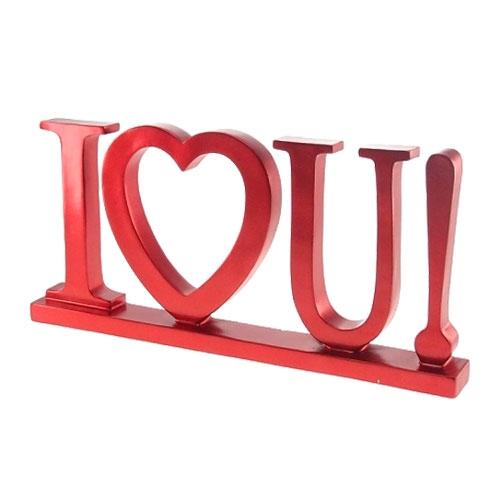 Placa Decorativa I Love U Vermelho em Resina - 27x13 cm