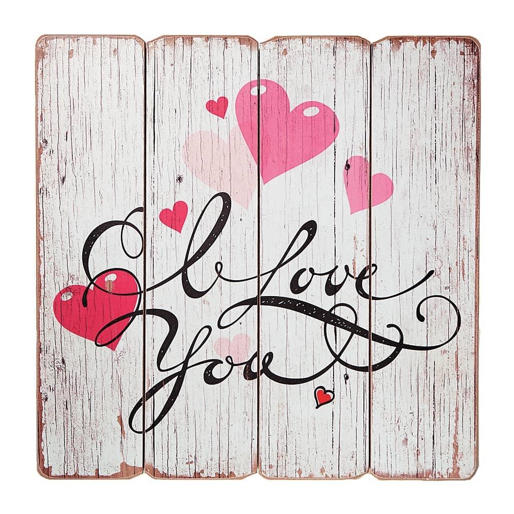 Placa Decorativa I Love You Branca em MDF - 40x40 cm