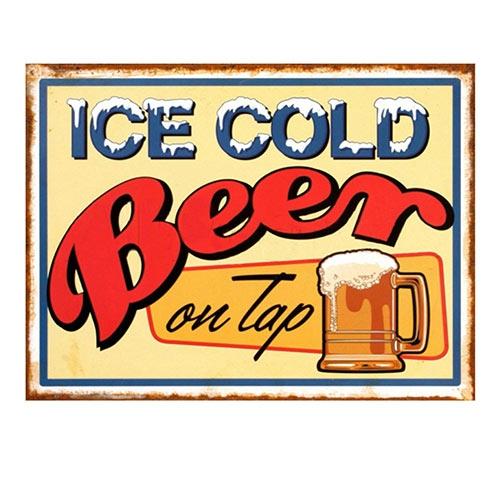 Placa Decorativa Ice Cold Beer Grande em Metal - 40x30cm
