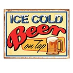 Placa Decorativa Ice Cold Beer Média em Metal - 30x20cm