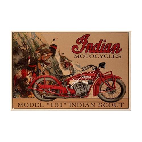 Placa Decorativa Indian Scout Model 101 Grande em Metal - 40x30 cm