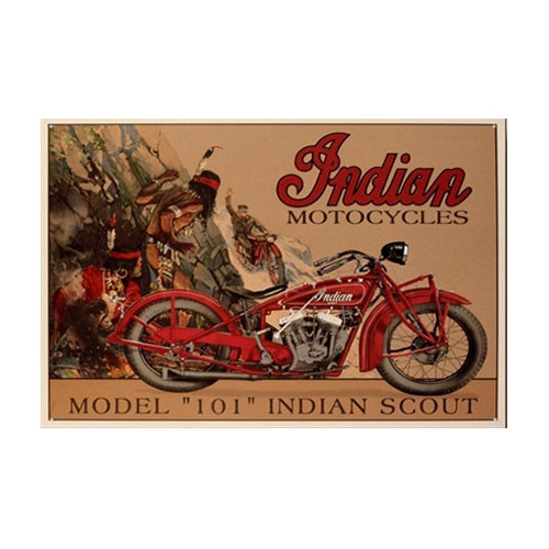 Placa Decorativa Indian Scout Model 101 Média em Metal - 30x20 cm