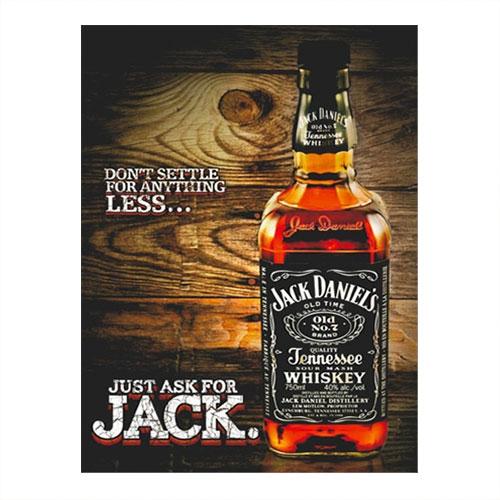 Placa Decorativa Jack Bottle Grande em Metal - 40x30 cm