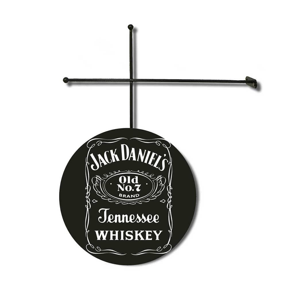 Placa Decorativa Jack Daniels Preto em Poliestireno com Suporte em Metal - 30x30 cm