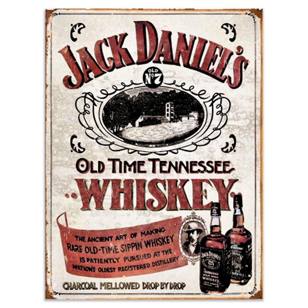 Placa Decorativa Jack Daniels Vintage Old Time Média em Metal - 30x20 cm