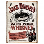 Placa Decorativa Jack Daniels Vintage Old Time Média em Metal - 30x20 cm