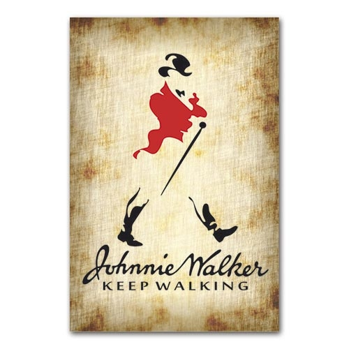 Placa Decorativa Johnnie Walker Grande em Metal - 40x30cm