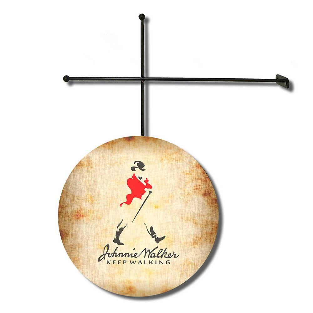 Placa Decorativa Johnnie Walker com Suporte em Metal - 30x30 cm
