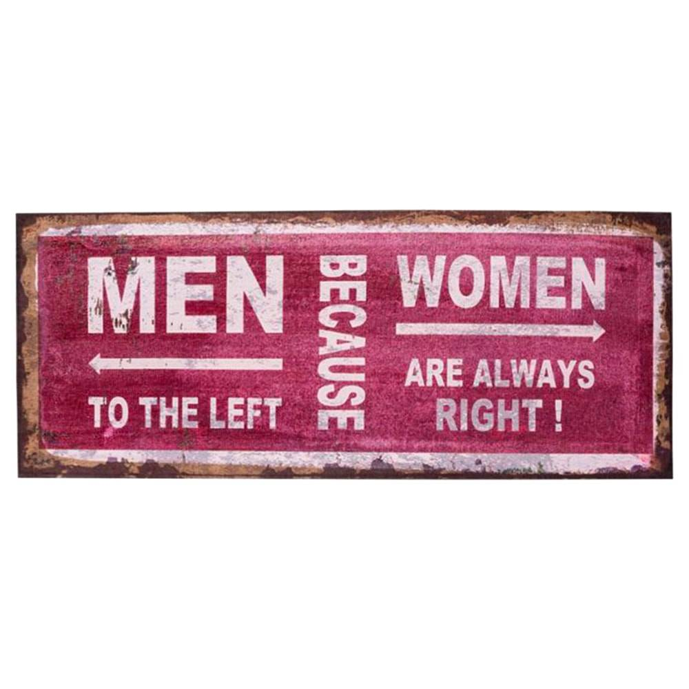 Placa Decorativa Juta Men X Women Bordô em Canvas - 50x20 cm