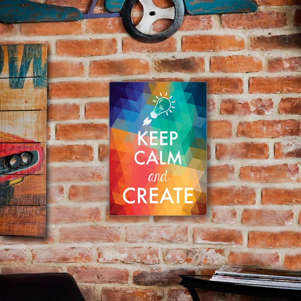 Placa Decorativa Keep Calm And Create Colorido Grande em Metal - 40x30 cm