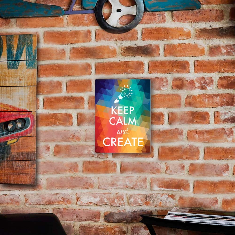 Placa Decorativa Keep Calm And Create Colorido Média em Metal - 30x20 cm