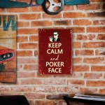Placa Decorativa Keep Calm And Poker Face Grande em Metal