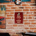 Placa Decorativa Keep Calm And Poker Face Média em Metal