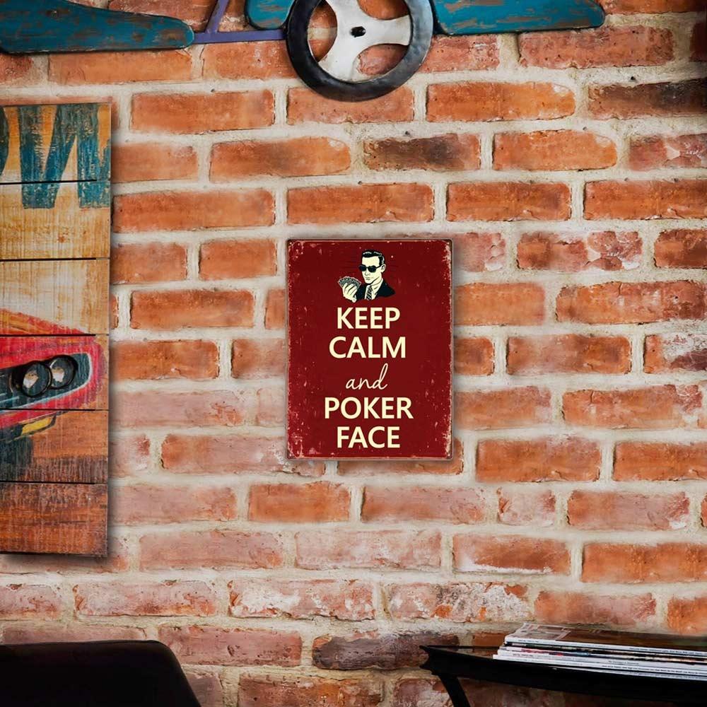 Placa Decorativa Keep Calm And Poker Face Vermelho Média em Metal - 30x20 cm