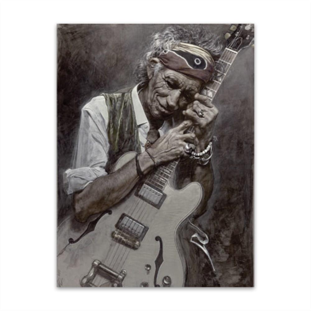 Placa Decorativa Keith Richards Grande em Metal - 40x30 cm