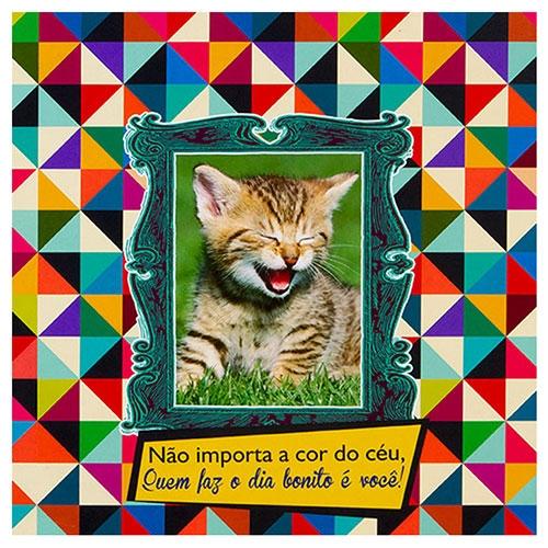 Placa Decorativa Kitten Céu em Metal - 30x30 cm