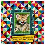 Placa Decorativa Kitten Céu em Metal
