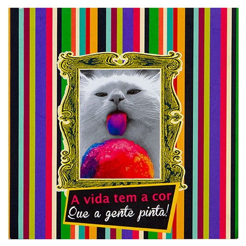 Placa Decorativa Kitten Cor em Metal - 30x30 cm