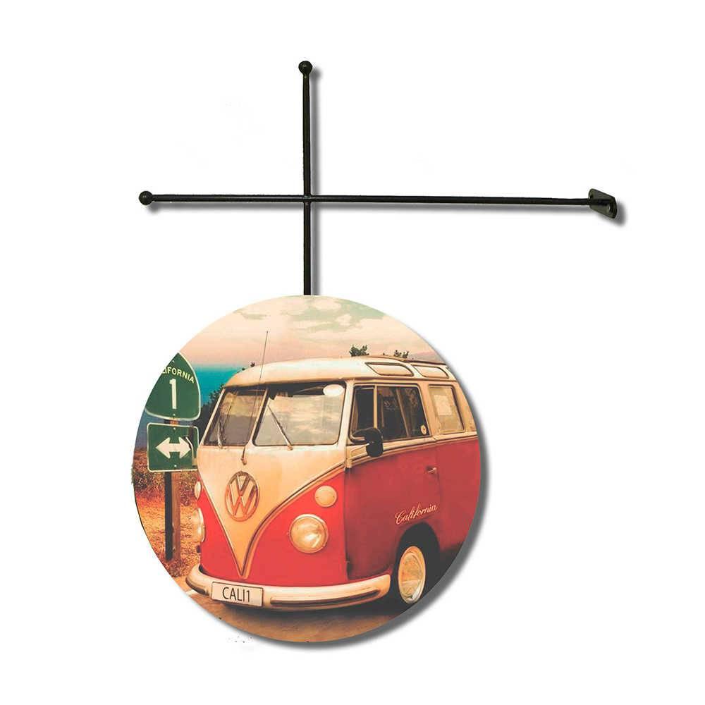 Placa Decorativa Kombi Corujinha em Poliestireno com Suporte em Metal - 30x30 cm