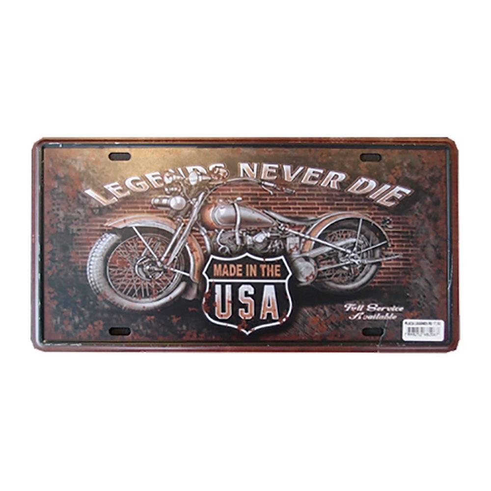 Placa Decorativa Legends Never Die em Alumínio - com Relevo - 30x15 cm