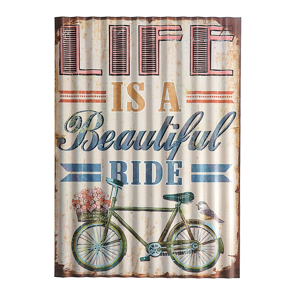 Placa Decorativa Life Is a Beautiful Ride Bege em Metal - 40x29 cm