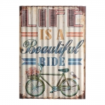 Placa Decorativa Life Is a Beautiful Ride Bege em Metal
