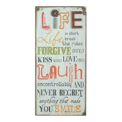 Placa Decorativa Life Is Short Vintage em Madeira - 79x37 cm