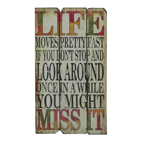 Placa Decorativa Life Vintage em Madeira - 57x30 cm