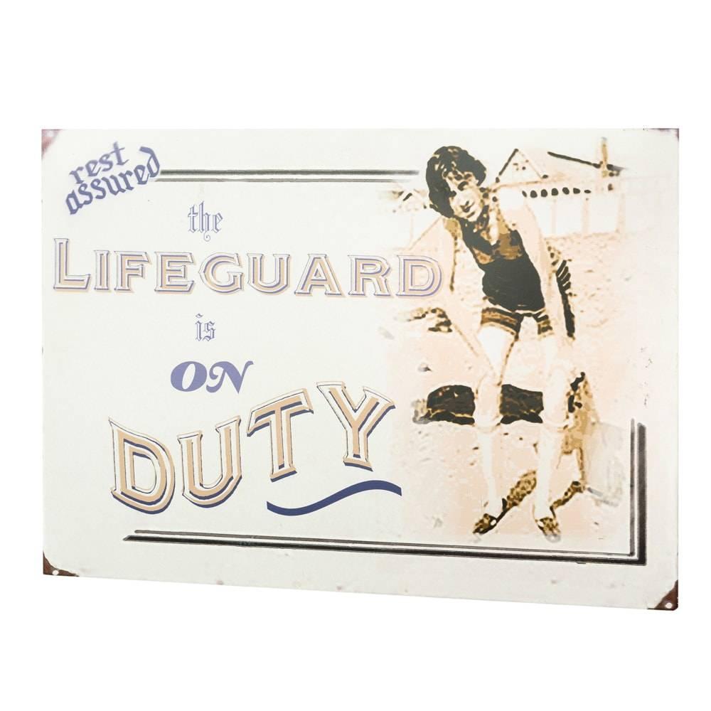 Placa Decorativa Lifeguard em Metal - Lyor Classic - 45x30 cm