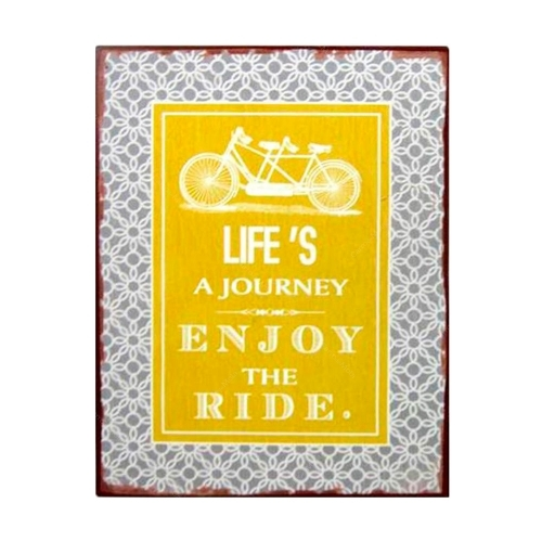 Placa Decorativa Life´s A Journey Enjoy The Ride em Metal 35x26 cm