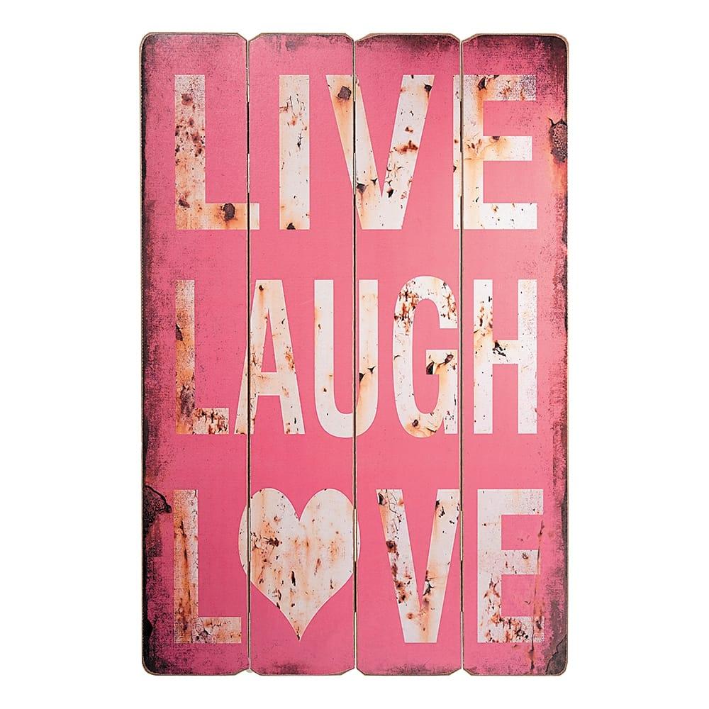 Placa Decorativa Live, Laugh and Love Vermelho em Madeira - 60x40 cm