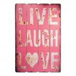 Placa Decorativa Live, Laugh and Love Vermelho em Madeira