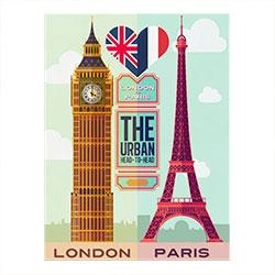 Placa Decorativa London/Paris Grande em Metal